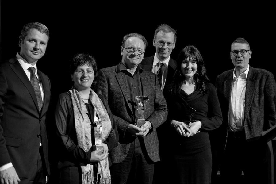 von links: Domenico Gehling (HypoVereinsbank), Merle Kröger, Wolfgang Kaes, Dr. Wolfgang Russ (EbnerStolz und Partner) Anila Wilms, Dr. Martin Wittwer (Buchhaus Wittwer)